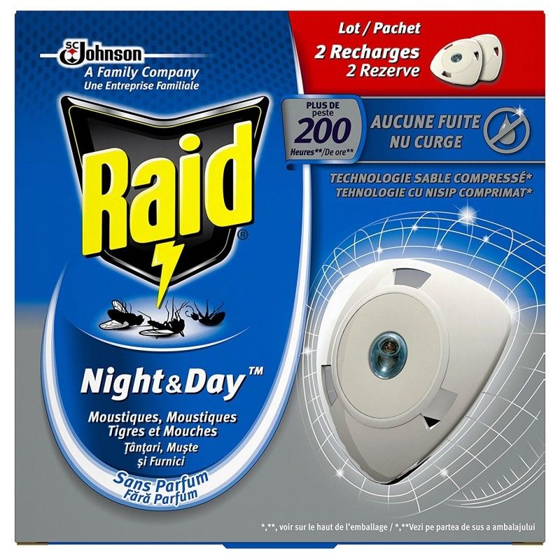 Raid Lot 2 recharges Insecticide Night & Day plus de 200h